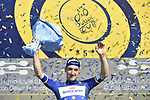 Elia Viviani (ITA) Quick-Step Floors takes over the race lead at the end of Stage 3 The Silicon Oasis Stage of the Dubai Tour 2018 the Dubai Tour's 5th edition, running 180km from Skydive Dubai to Fujairah, Dubai, United Arab Emirates. 7th February 2018.<br /> Picture: LaPresse/Fabio Ferrari   Cyclefile<br /> <br /> <br /> All photos usage must carry mandatory copyright credit (© Cyclefile   LaPresse/Fabio Ferrari)