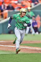 Notre Dame Fighting Irish first baseman Daniel Jung (31) runs to first base base during a game against the Clemson Tigers at Doug Kingsmore Stadium on March 11, 2017 in Clemson, South Carolina. The Tigers defeated the Fighting Irish 6-5. (Tony Farlow/Four Seam Images)