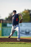 Lowell Spinners starting pitcher Durin O'Linger (51) delivers a warmup pitch during a game against the Batavia Muckdogs on July 11, 2017 at Dwyer Stadium in Batavia, New York.  Lowell defeated Batavia 5-2.  (Mike Janes/Four Seam Images)