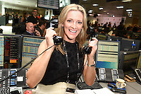 Gaby Logan<br /> on the trading floor for the BGC Charity Day 2016, Canary Wharf, London.<br /> <br /> <br /> ©Ash Knotek  D3152  12/09/2016