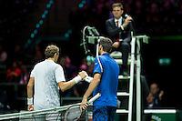 Rotterdam, The Netherlands, Februari 8, 2016,  ABNAMROWTT, Denis Istomin (UZB), Marin Cilic (CRO)<br /> Photo: Tennisimages/Henk Koster