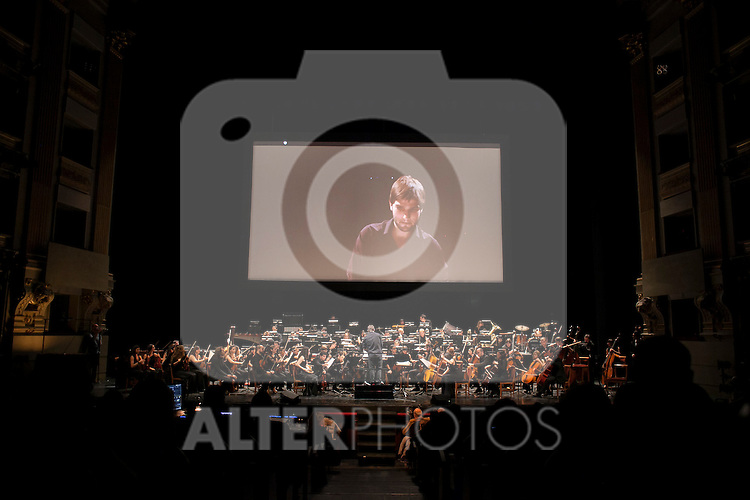 Orchestra conductor Lucas Vidal leads the Barbieri Symphony Orchestra during a tribute concert of John Williams at Teatro Real in Madrid, Spain. December 17, 2015. (ALTERPHOTOS/Victor Blanco)