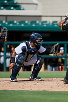 Detroit Tigers catcher Moises Nunez (48) waits to receive a pitch during a Florida Instructional League game against the Pittsburgh Pirates on October 6, 2018 at Joker Marchant Stadium in Lakeland, Florida.  (Mike Janes/Four Seam Images)