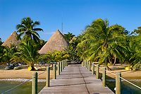 dock and beach at Kanantik Resort, south of Dangriga, Stann Creek District Belize, Central America (Caribbean Sea)
