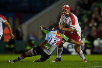 Talalelei Gray of Biarritz Olympique is tackled by Jordan Turner-Hall of Harlequins during the Heineken Cup match between Harlequins and Biarritz Olympique Pays Basque at the Twickenham Stoop on Saturday 13th October 2012 (Photo by Rob Munro)