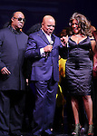 Stevie Wonder, Berry Gordy & Mary Wilson  during the Broadway Opening Night Performance Curtain Call for 'Motown The Musical'  at the Lunt Fontanne Theatre in New York City on 4/14/2013..