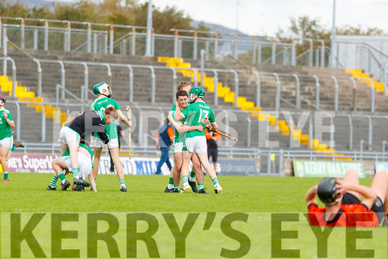 The Ballyduff team celebrate after the Kerry County Minor Hurling Championship Final match between Ballyduff and Ballyheihue at Austin Stack Park in Tralee, Kerry.