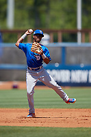Dunedin Blue Jays second baseman Samad Taylor (1) throws to first base during a Florida State League game against the Charlotte Stone Crabs on April 17, 2019 at Charlotte Sports Park in Port Charlotte, Florida.  Charlotte defeated Dunedin 4-3.  (Mike Janes/Four Seam Images)