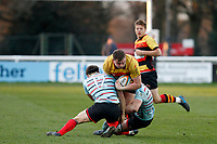 Jimmy Litchfield of Richmond Rugby is tackled during the English National League match between Richmond and Blackheath  at Richmond Athletic Ground, Richmond, United Kingdom on 4 January 2020. Photo by Carlton Myrie.
