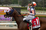 """ARCADIA, CA  SEPTEMBER 28:  <br /> #1 Mirth, ridden by Mike Smith, returns to the connections after winning the Rodeo Drive Stakes (Grade l) """"Win and You're Breeders' Cup Filly and Mare Turf Division"""" on September 28, 2019 at Santa Anita Park in Arcadia, CA.(Photo by Casey Phillips/Eclipse Sportswire/CSM"""