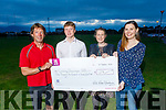 John Edwards presents a cheque for €1678 to the Cardiac Unit at theTralee Sports complex on Monday, from the proceeds of the recent Swim Across the Bay. John Edwards, Joe Reidy, Natasha Daly (Cardiac Physiology) and Grace O'Carroll (Cardiologist).