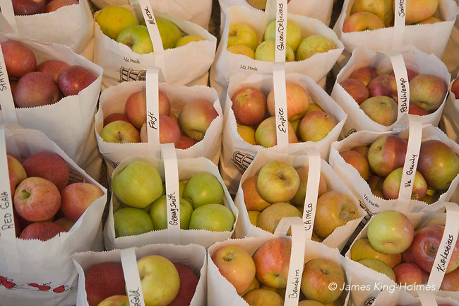 bags of apples for sale outside a small store in Blowing Rock, NC, USA Paper bags of apples for sale by the roadside in rural North Carolina, USA