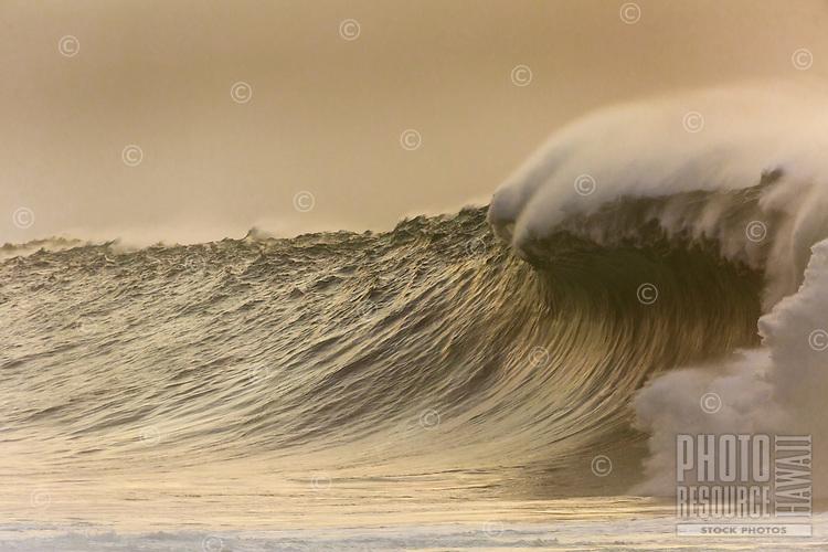 A huge wave breaks at Waimea Bay on a winter day, North Shore, O'ahu.
