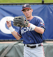 Outfielder Jake Hanson (11) of the Rome Braves in a game against the Greenville Drive on Aug. 10, 2010, at Fluor Field at the West End in Greenville, S.C. Photo by: Tom Priddy/Four Seam Images.