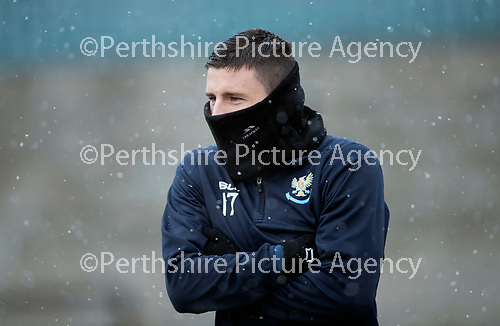 St Johnstone Training…22.01.19   McDiarmid Park<br />Michael O'Halloran pictured during a snowy training session this morning ahead of tomorrow night's game against Livingston.<br />Picture by Graeme Hart.<br />Copyright Perthshire Picture Agency<br />Tel: 01738 623350  Mobile: 07990 594431
