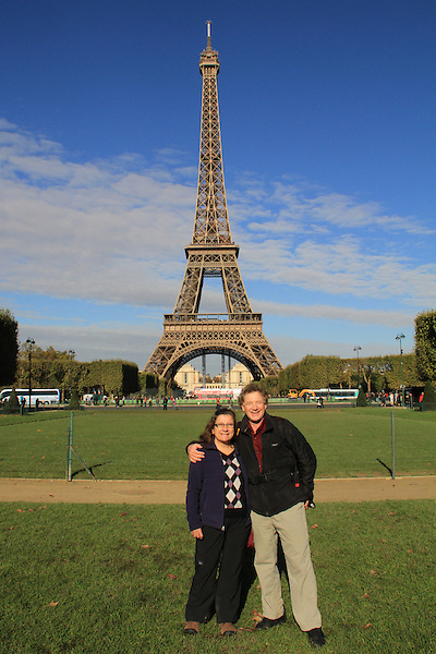 John and Beth at the Tour Eiffel and Champ de Mars, Paris, France.