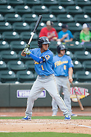 Carlos Penalver (1) of the Myrtle Beach Pelicans at bat against the Winston-Salem Dash at BB&T Ballpark on May 10, 2015 in Winston-Salem, North Carolina.  The Pelicans defeated the Dash 4-3.  (Brian Westerholt/Four Seam Images)