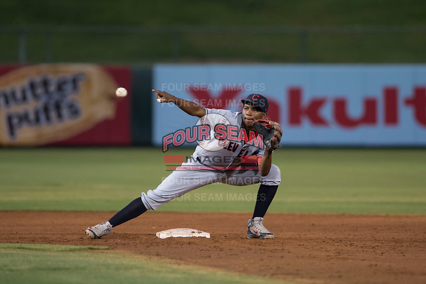 AZL Indians 2 second baseman Makesiondon Kelkboom (26) covers second base during an Arizona League game against the AZL Angels at Tempe Diablo Stadium on June 30, 2018 in Tempe, Arizona. The AZL Indians 2 defeated the AZL Angels by a score of 13-8. (Zachary Lucy/Four Seam Images)
