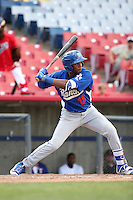 Yusniel Diaz (16) of the Rancho Cucamonga Quakes bats against the High Desert Mavericks at Heritage Field on May 8, 2016 in Adelanto, California. Rancho Cucamonga defeated High Desert, 11-5. (Larry Goren/Four Seam Images)