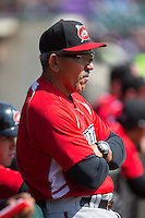Carolina Mudcats manager Luis Salazar (4) prior to the game against the Winston-Salem Dash at BB&T Ballpark on April 22, 2015 in Winston-Salem, North Carolina.  The Dash defeated the Mudcats 4-2..  (Brian Westerholt/Four Seam Images)