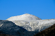 Mount Washington from along Route 302 in the New Hampshire White Mountains. Oakes Gulf, named for William Oakes (1799-1848), a 19th-century botanist and explorer of the White Mountains region, is just below the summit cone.