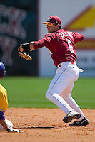 South Carolina shortstop Reese Havens (6) turns a double play versus LSU at Sarge Frye Stadium in Columbia, SC, Thursday, March 18, 2007.