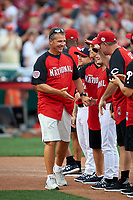 Ohio State Football Coach Ohio State Football Coach Urban Meyer during introductions before the All-Star Legends and Celebrity Softball Game on July 12, 2015 at Great American Ball Park in Cincinnati, Ohio.  (Mike Janes/Four Seam Images)