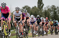 World Champion Elisa Balsamo (ITA/Valcar-Travel and Service) rolling over the cobbles<br /> <br /> Inaugural Paris-Roubaix Femmes 2021 (1.WWT)<br /> One day race from Denain to Roubaix (FRA)(116.4km)<br /> <br /> ©kramon