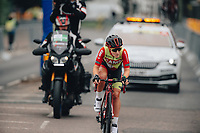 8th October 2021; AJ Bell Womens Cycling Tour, Stage 5, Colchester to Clacton on Sea.  Hayley Simmonds (CAMS BASSO) solo breakaway.