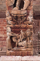 Kathmandu, Nepal.  Jaganath Temple, Dedicated to Krishna, with Erotic Carvings Showing Human Copulation.  16th. Century.  Durbar Square.