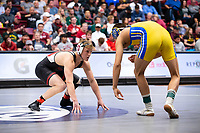 STANFORD, CA - March 7, 2020: Requir van Der Merwe of Stanford and Russell Rohlfing of Cal State Bakersfield during the 2020 Pac-12 Wrestling Championships at Maples Pavilion.