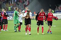 Siegesjubel Eintracht Frankfurt mit Albert Streit, Michael Thurk und Benjamin Köhler
