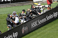 Photographers at day two at the 2017 HSBC World Sevens Series Wellington, Westpac Stadium in Wellington, New Zealand on Sunday, 29 January 2017. Photo: Kerry Marshall / lintottphoto.co.nz
