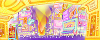 A stylized view of Times Square with theatre marquees.  For Kenmark Scenic Backdrops, Inc.
