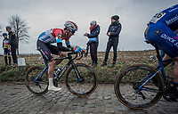 Later race winner Bob Jungels (LUX/Deceuninck-Quick Step) up the Oude Kwaremont.  <br /> <br /> 71st Kuurne-Brussel-Kuurne (2019)<br /> Kuurne > Kuurne 201km (BEL)<br /> <br /> ©kramon