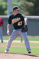 Shawn Haviland #47 of the Oakland Athletics pitches during a Minor League Spring Training Game against the Los Angeles Angels at the Los Angeles Angels Spring Training Complex on March 17, 2014 in Tempe, Arizona. (Larry Goren/Four Seam Images)