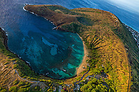 A sunrise aerial view from a helicopter of Hanauma Bay, East O'ahu.
