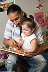 Education Preschool toddler 2s program father plays with puzzle with this daughter at the start of the day
