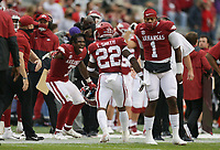 Arkansas players react after a score, Saturday, November 21, 2020 during the third quarter of a football game at Donald W. Reynolds Razorback Stadium in Fayetteville. Check out nwaonline.com/201122Daily/ for today's photo gallery. <br /> (NWA Democrat-Gazette/Charlie Kaijo)