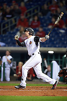 Louisville Cardinals third baseman Drew Ellis (10) at bat during a game against the Maryland Terrapins on February 18, 2017 at Spectrum Field in Clearwater, Florida.  Louisville defeated Maryland 10-7.  (Mike Janes/Four Seam Images)