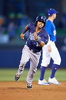 Corpus Christi Hooks shortstop Antonio Nunez (10) runs the bases during a game against the Tulsa Drillers on June 3, 2017 at ONEOK Field in Tulsa, Oklahoma.  Corpus Christi defeated Tulsa 5-3.  (Mike Janes/Four Seam Images)