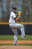 Catawba Indians relief pitcher Connor Garcia (24) in action against the Queens Royals during game one of a double-header at Tuckaseegee Dream Fields on March 26, 2021 in Kannapolis, North Carolina. (Brian Westerholt/Four Seam Images)