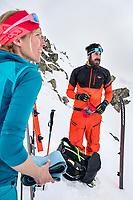 A ski tour through the Pirin Mountains of Bulgaria. Skins and ski crampons off in bad weather.