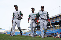 Fort Wayne TinCaps Ruddy Giron (12), Duanel Jones (20) and Franchy Cordero (22) walk to the dugout before a game against the Lake County Captains on May 20, 2015 at Classic Park in Eastlake, Ohio.  Lake County defeated Fort Wayne 4-3.  (Mike Janes/Four Seam Images)