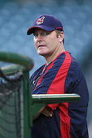 Cleveland Indians Manager Eric Wedge during batting practice before a game from the 2007 season at Angel Stadium in Anaheim, California. (Larry Goren/Four Seam Images)