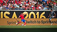 Orlando, Florida - Saturday, June 04, 2016: Costa Rican defender Oscar Duarte (6) looks to pass by Paraguayan forward Dario Lezcano (19) during a Group A Copa America Centenario match between Costa Rica and Paraguay at Camping World Stadium.