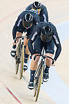 The team of New Zealand with Edward Dawkins, Ethan Mitchell and Sam Webster compete in Men's Team Sprint - Qualifying match as part of the 2017 UCI Track Cycling World Championships on 12 April 2017, in Hong Kong Velodrome, Hong Kong, China. Photo by Victor Fraile / Power Sport Images
