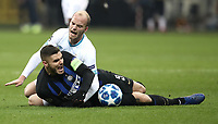 Football: UEFA Champions League -Group Stage - Group B - FC Internazionale Milano vs PSV Eindhoven, Giuseppe Meazza  (San Siro) Stadium, Milan Italy, December 11, 2018.<br /> Inter Milan's Captain Mauro Icardi (front) in action with PSV Eindhoven's Jorrit Hendrix (back) during the Uefa Champions League football match between Inter Milan and PSV Eindhoven at Giuseppe Meazza  (San Siro) Stadium in Milan on December 11, 2018. <br /> UPDATE IMAGES PRESS/Isabella Bonotto