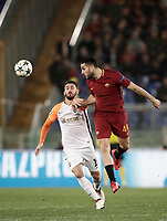 Football Soccer: UEFA Champions League  Round of 16 Second Leg, AS Roma vs FC Shakhtar Donetsk, Stadio Olimpico Rome, Italy, March 13, 2018. <br /> Roma's Kostas Manolas (r) in a action with Shakhtar Donetsk's Facundo Ferreyra (l) iduring the Uefa Champions League football soccer match between AS Roma and FC Shakhtar Donetsk at at Rome's Olympic stadium, March 13, 2018.<br /> UPDATE IMAGES PRESS/Isabella Bonotto