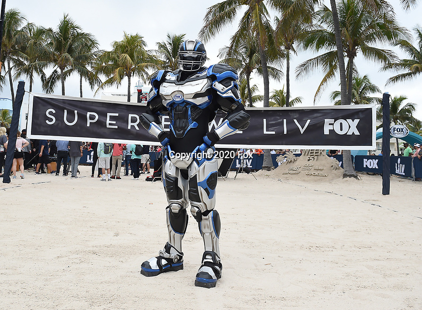 """MIAMI BEACH, FL - JANUARY 31: Fox Sports' Cleatus on the set of """"Speak for Yourself"""" on the Fox Sports South Beach studio during Super Bowl LIV week on January 31, 2020 in Miami Beach, Florida. (Photo by Frank Micelotta/Fox Sports/PictureGroup)"""